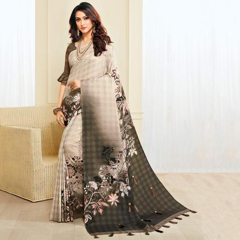 Exceptional Off-white & Brown Colored Casual Wear Printed Jute Silk Saree