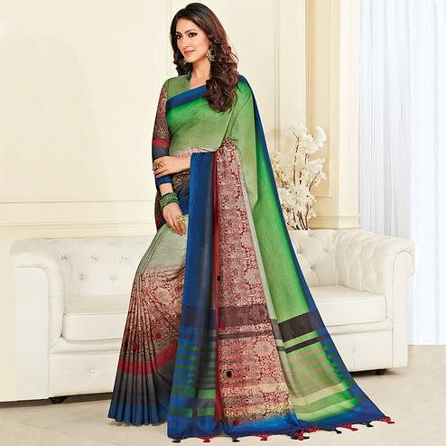Excellent Green & Multi Colored Casual Wear Printed Jute Silk Saree