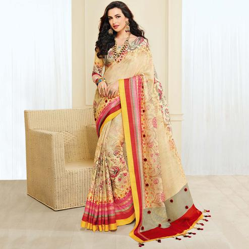 Ethnic Cream Colored Casual Wear Printed Jute Silk Saree
