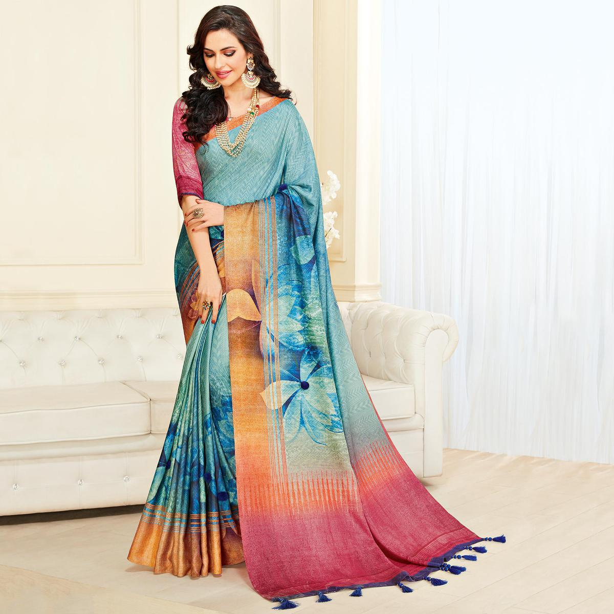 Starring Aqua Blue Colored Casual Wear Printed Jute Silk Saree