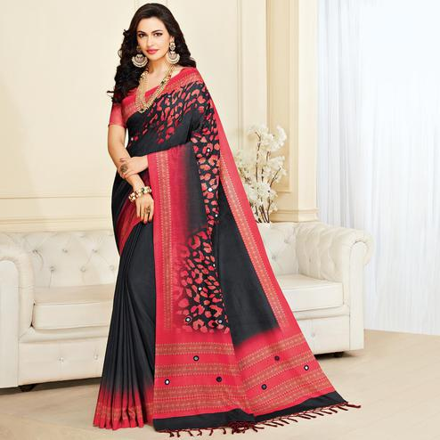 Surpassing Black & Pink Colored Casual Wear Printed Jute Silk Saree