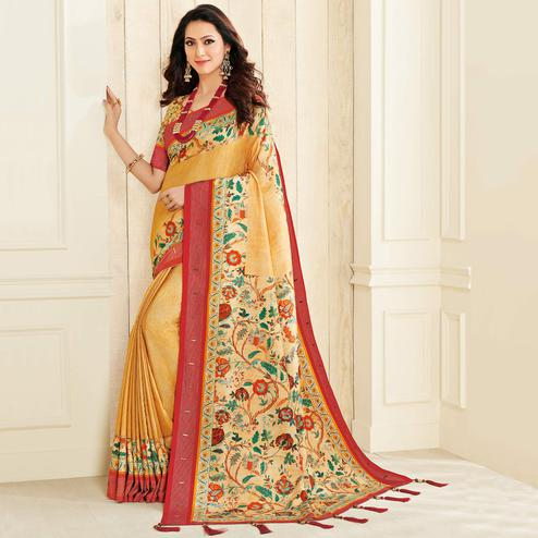 Entrancing Yellow Colored Casual Wear Printed Jute Silk Saree