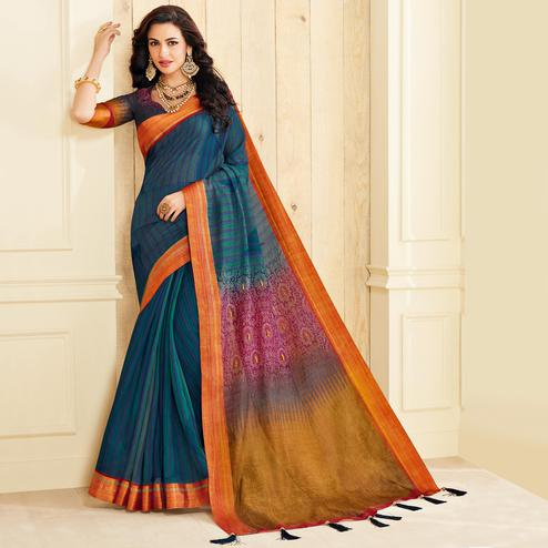 Imposing Dark Blue Colored Casual Wear Printed Jute Silk Saree