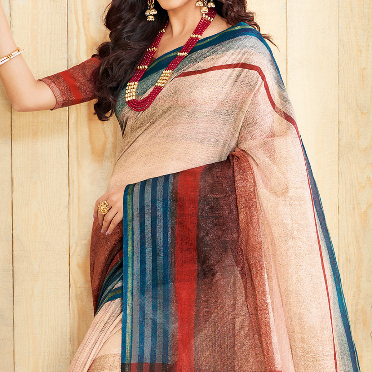 Ideal Cream & Multi Colored Casual Wear Printed Jute Silk Saree