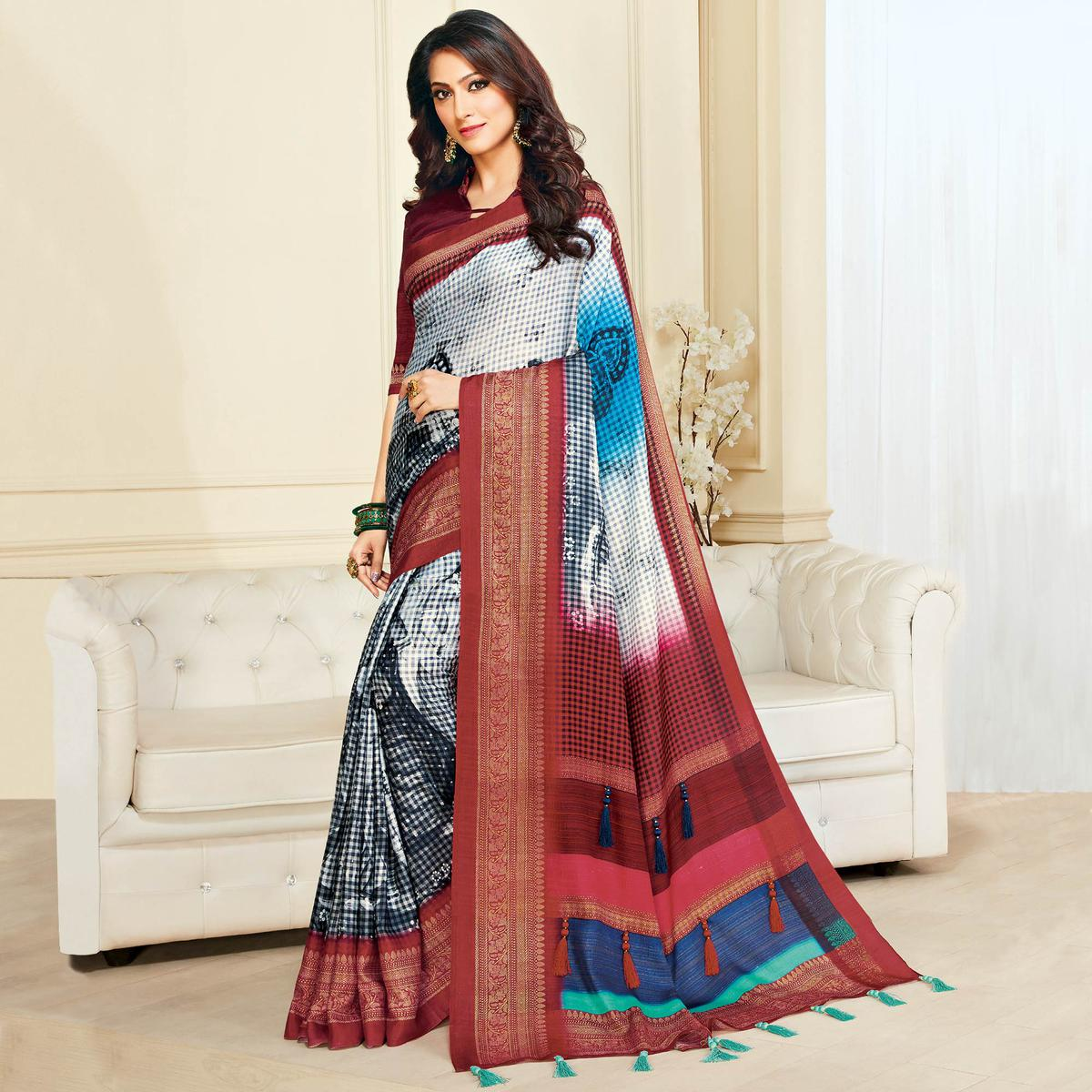 Staring White & Maroon Colored Casual Wear Printed Jute Silk Saree