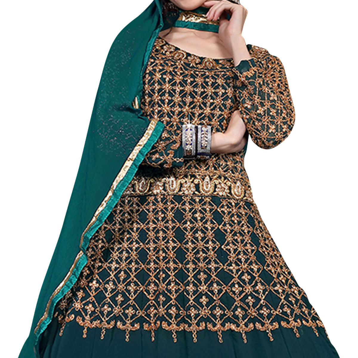Mesmerising Rama Green Colored Designer Heavy Embroidered Georgette Anarkali Suit