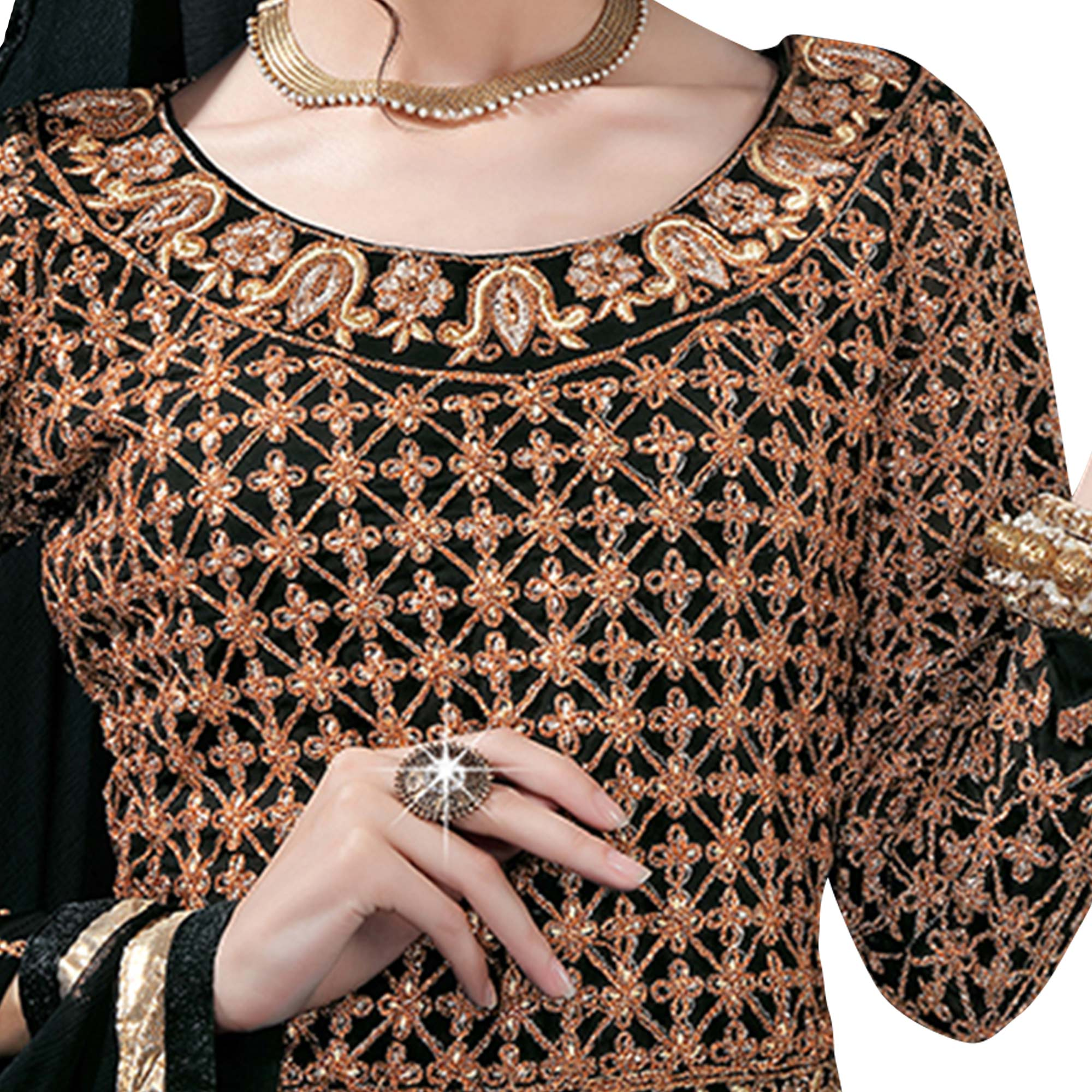 Pleasance Black Colored Designer Heavy Embroidered Georgette Anarkali Suit