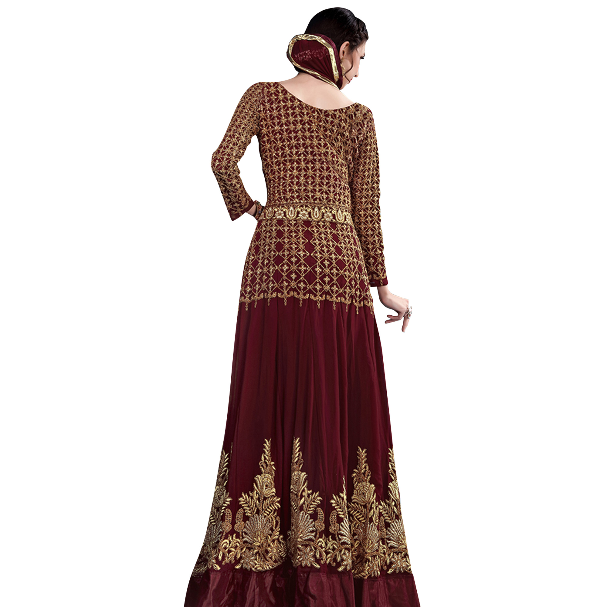 Breathtaking Maroon Colored Designer Heavy Embroidered Georgette Anarkali Suit