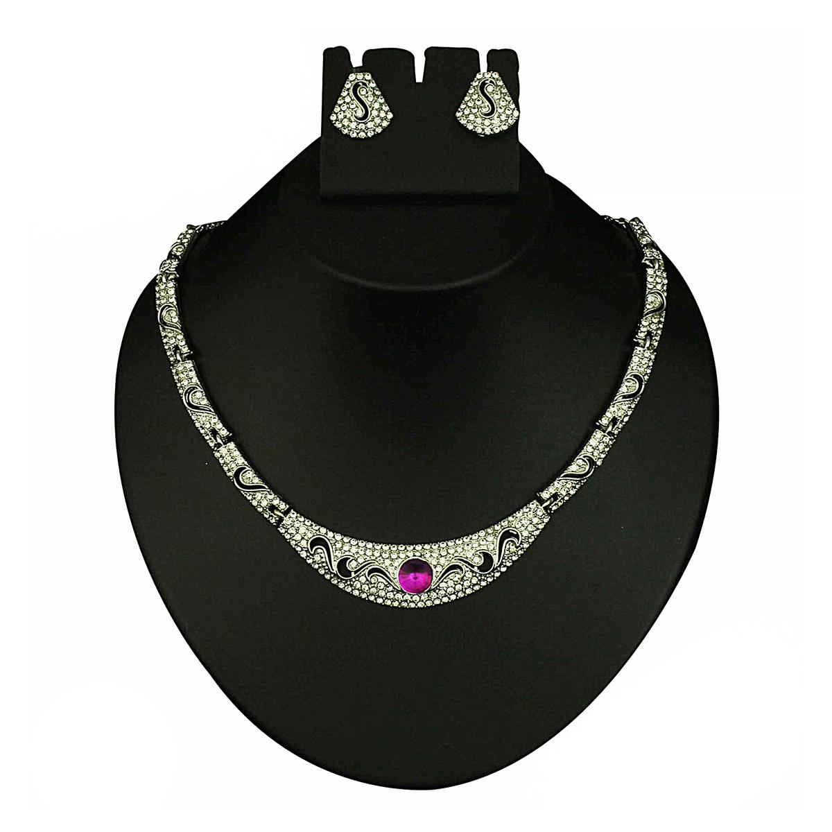 Purple Austrian Stone Meenakari Rhodium Finish Necklace Set