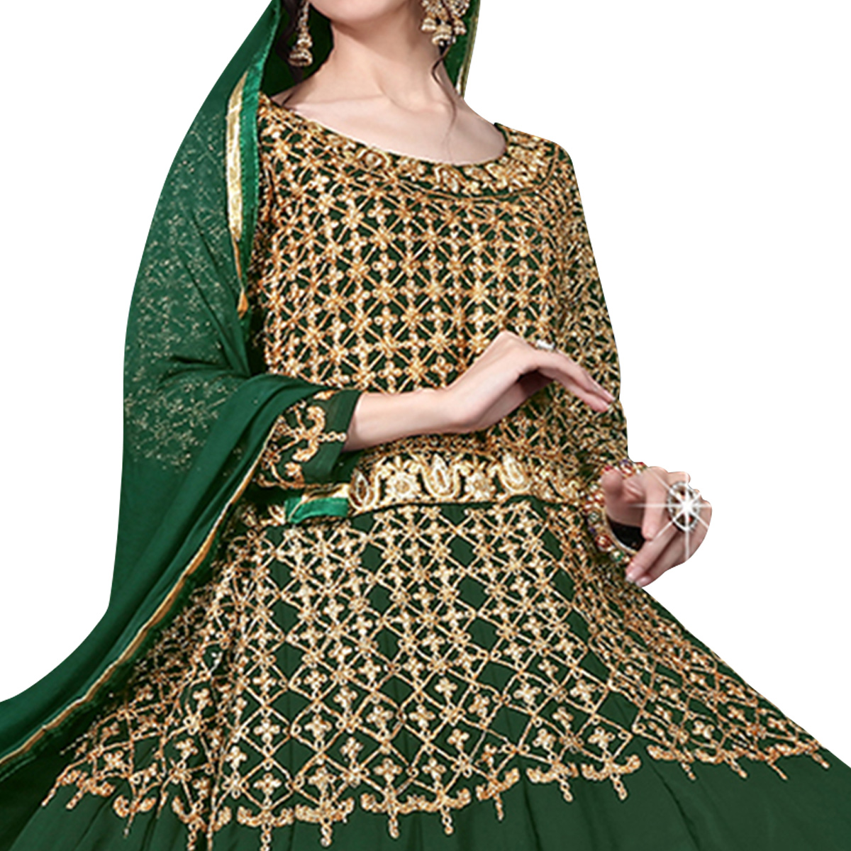 Blissful Green Colored Designer Heavy Embroidered Georgette Anarkali Suit