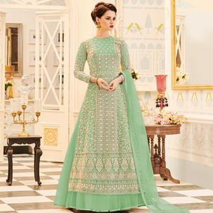 Prominent Moss Green Colored Party Wear Embroidered Work Net Anarkali Suit