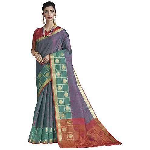 Blooming Light Purple Colored Festive Wear Banarasi Silk Saree