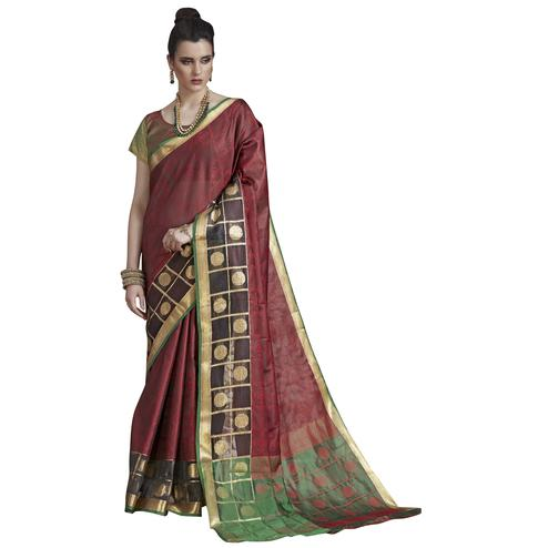 Marvellous Maroon Colored Festive Wear Banarasi Silk Saree