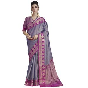 Mesmerising Purple Colored Festive Wear Banarasi Silk Saree