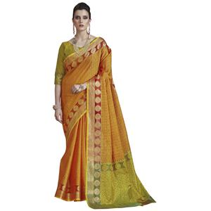 Ravishing Yellow Colored Festive Wear Banarasi Silk Saree