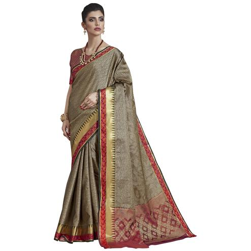 Eye-catching Olive Green Colored Festive Wear Banarasi Silk Saree