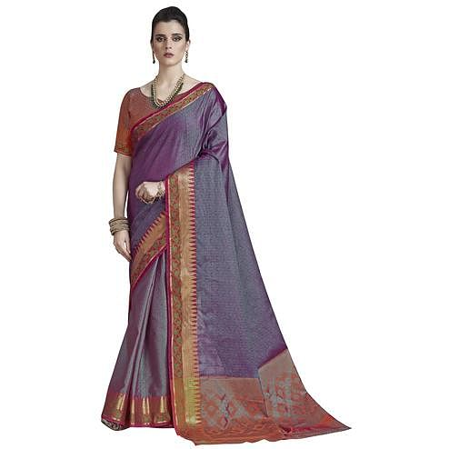 Amazing Violet  Colored Festive Wear Banarasi Silk Saree
