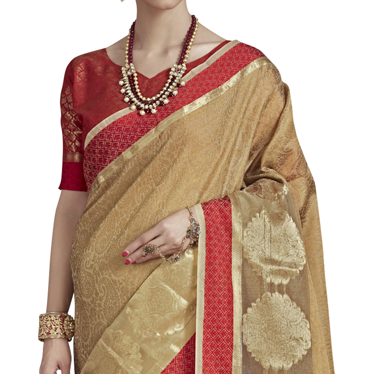 Exotic Beige Colored Festive Wear Banarasi Silk Saree