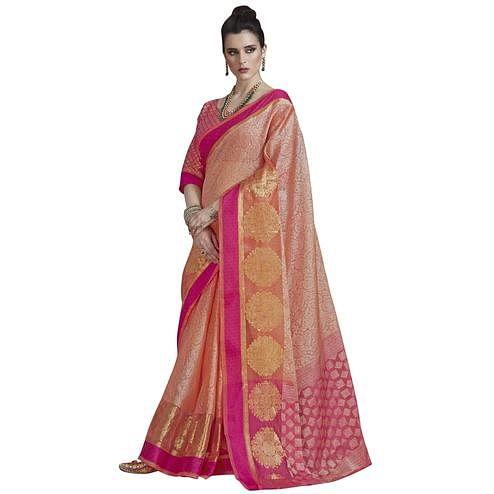 Majesty Peach Colored Festive Wear Banarasi Silk Saree