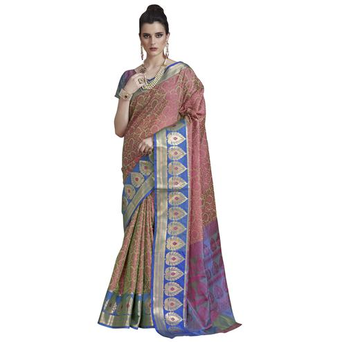 Preferable Olive Green - Pink Colored Festive Wear Banarasi Silk Saree