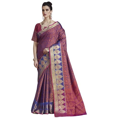 Adorning Violet  Colored Festive Wear Banarasi Silk Saree