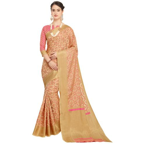 Amazing Peach Colored Festive Wear Woven Wear Silk Saree