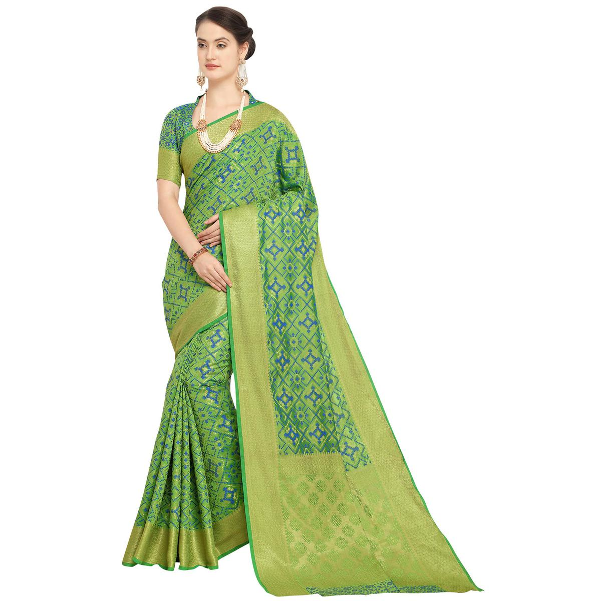 Exotic Green Colored Festive Wear Woven Wear Silk Saree