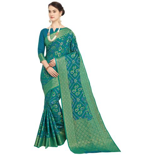 Majesty Rama Green Colored Festive Wear Woven Wear Silk Saree