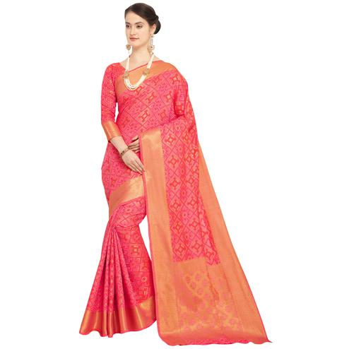 Preferable Pink Colored Festive Wear Woven Wear Silk Saree