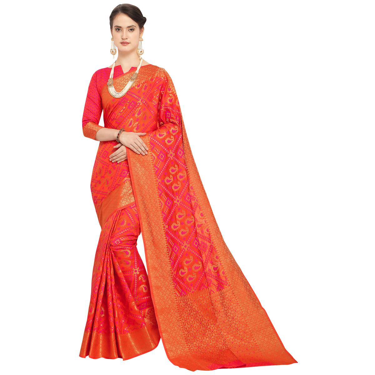 Adorning Orange Colored Festive Wear Woven Wear Silk Saree