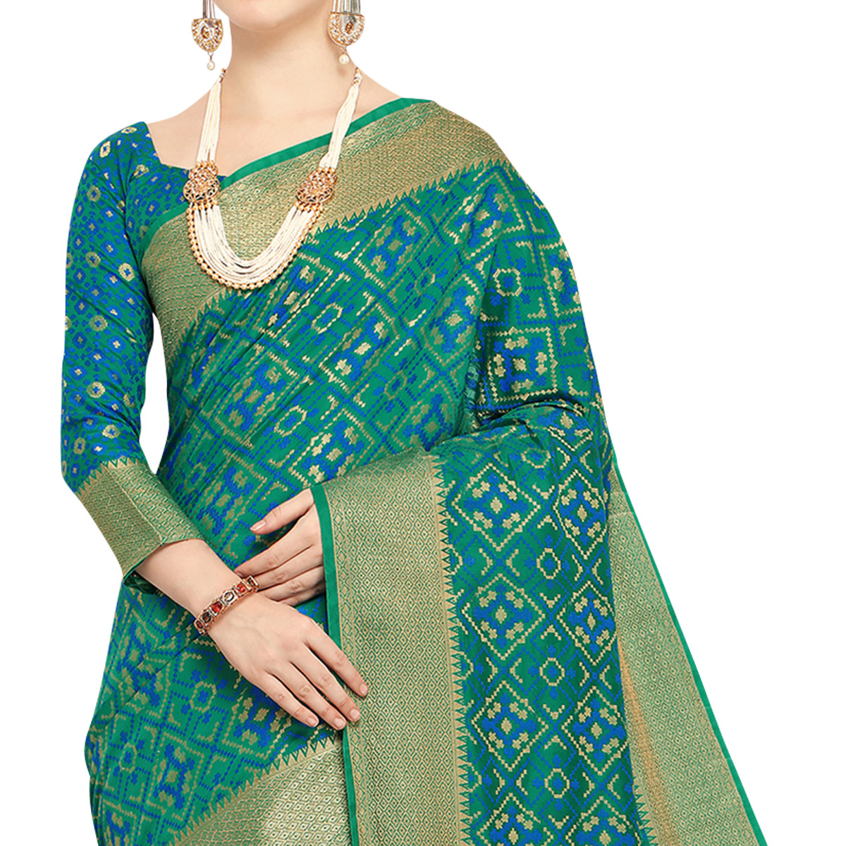 Prominent Rama Green Colored Festive Wear Woven Wear Silk Saree