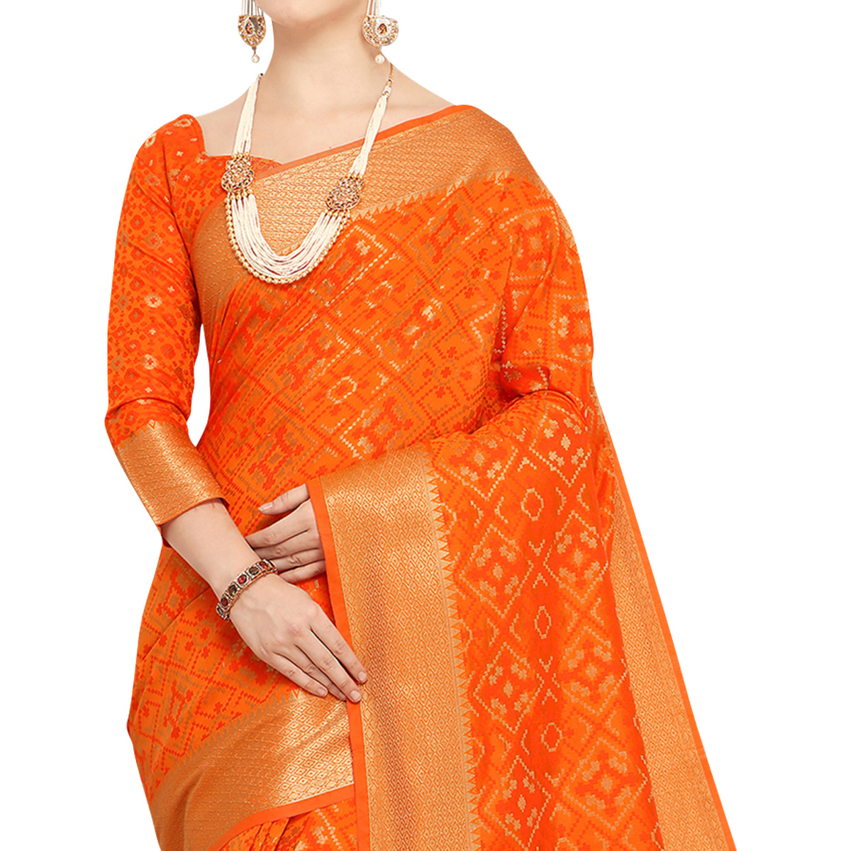 Deserving Orange Colored Festive Wear Woven Wear Silk Saree