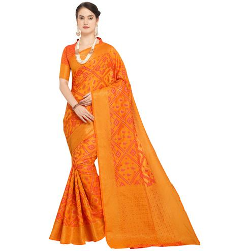 Glowing Yellow Colored Festive Wear Woven Wear Silk Saree