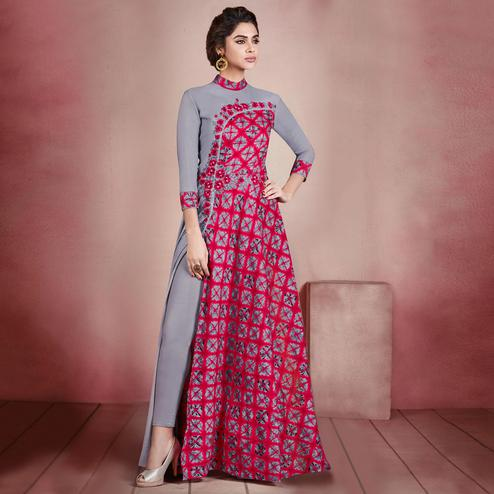 Fantastic Grey-Red Colored Designer Embroidered Party Wear Rayon Kurti
