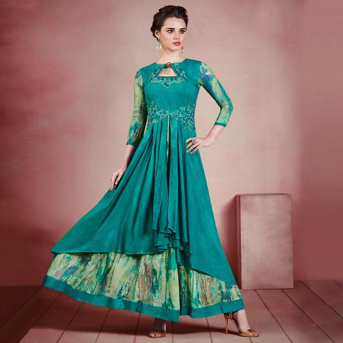 Surpassing Shaded Green Colored Designer Embroidered Party Wear Rayon Kurti