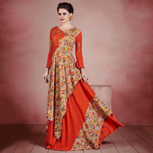 Energetic Orange Colored Designer Embroidered Party Wear Rayon Kurti