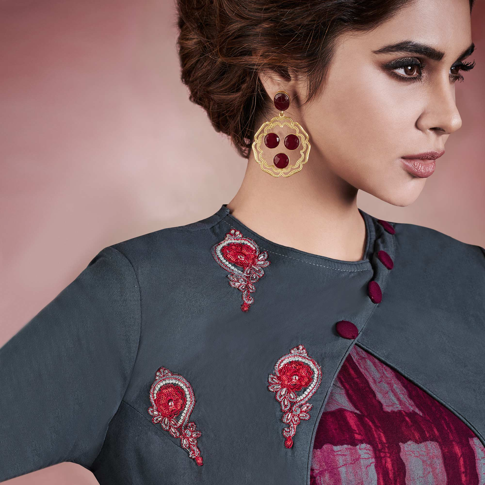 Marvellous Multicolored Colored Designer Embroidered Party Wear Rayon Kurti