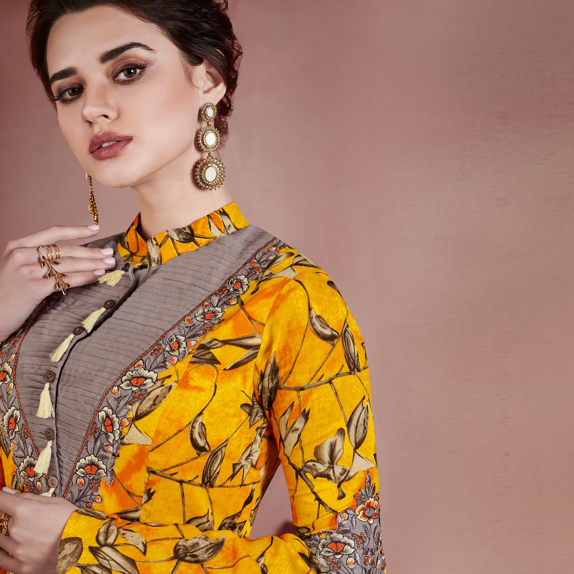 Graceful Yellow Colored Designer Embroidered Party Wear Rayon Kurti