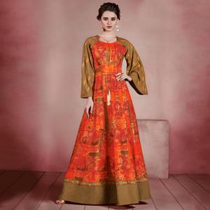 Glowing Dark Orange Colored Designer Embroidered Party Wear Rayon Kurti