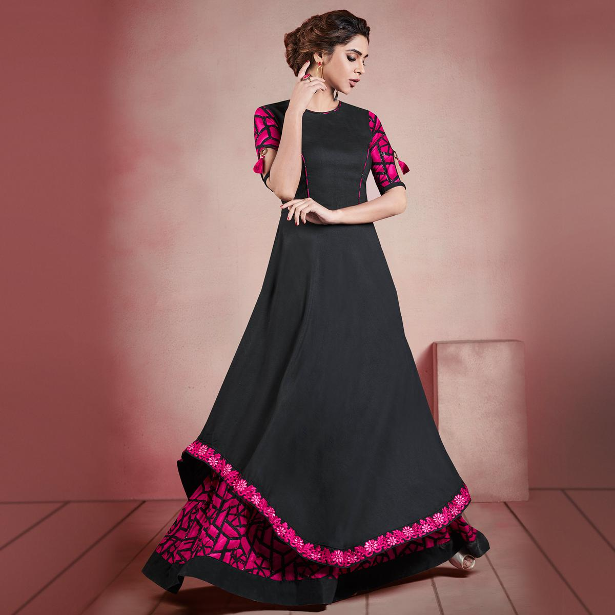 Arresting Black Colored Designer Embroidered Party Wear Rayon Kurti