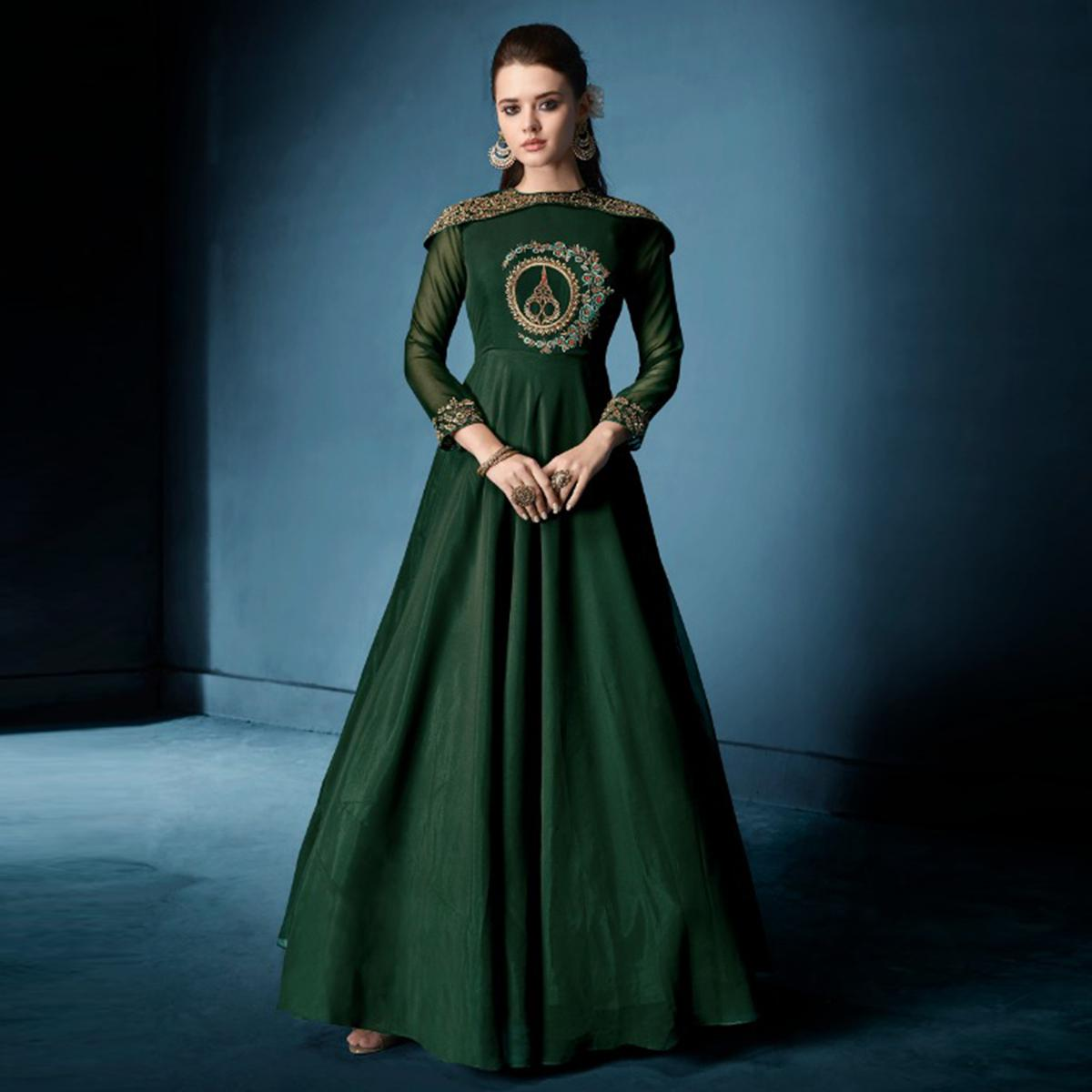 Entrancing Dark Green Colored Designer Party Wear Soft Tapetta Silk Anarkali Suit