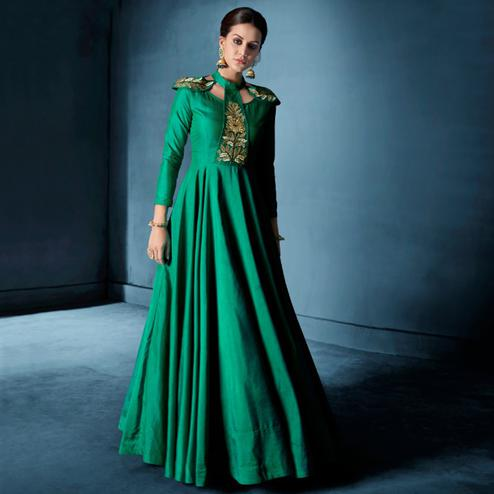 Sensational Green Colored Designer Party Wear Soft Tapetta Silk Anarkali Suit