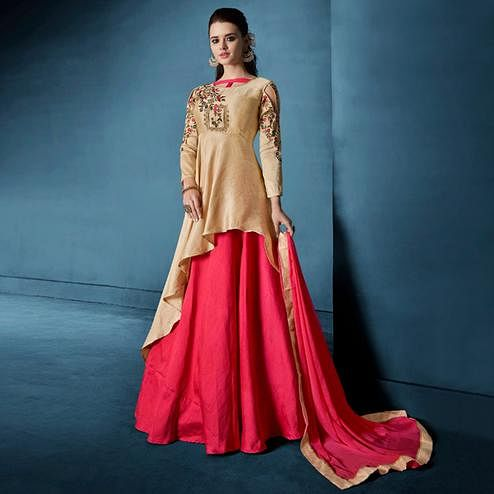 Engrossing Beige-Pink Colored Designer Party Wear Silk Lehenga Suit