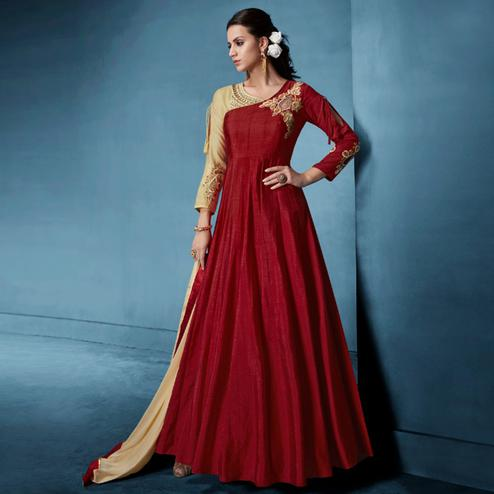 Surpassing Maroon Colored Designer Party Wear Soft Tapetta Silk Anarkali Suit