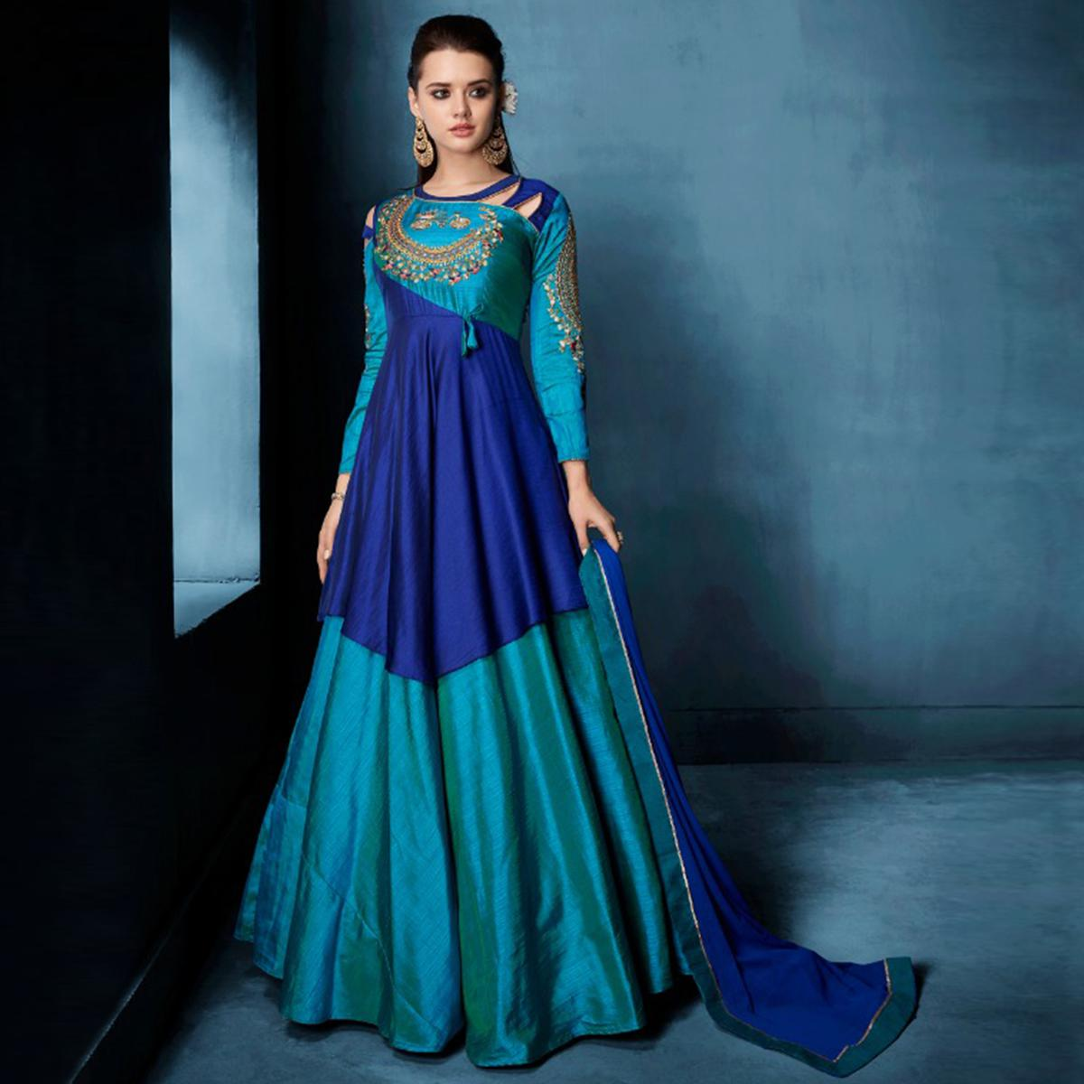Prominent Shaded Blue Colored Designer Party Wear Tapetta Silk Anarkali Suit