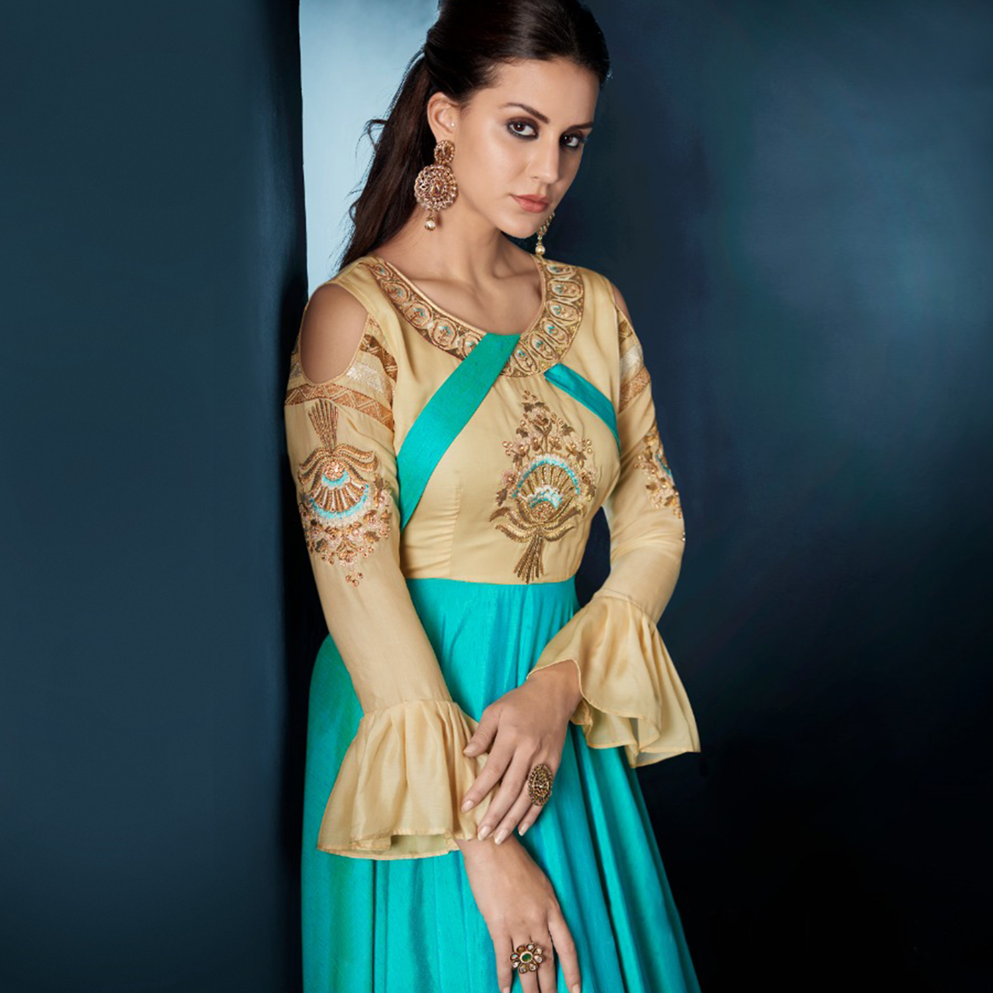 Radiant Sky Blue Colored Designer Party Wear Soft Tapetta Silk Anarkali Suit