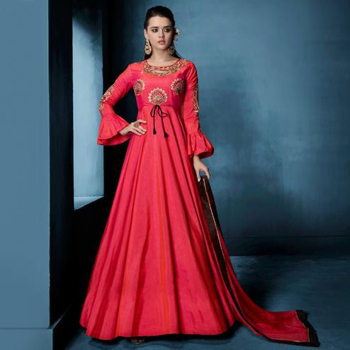 Demanding Deep Pink Colored Designer Party Wear Soft Tapetta Silk Anarkali Suit