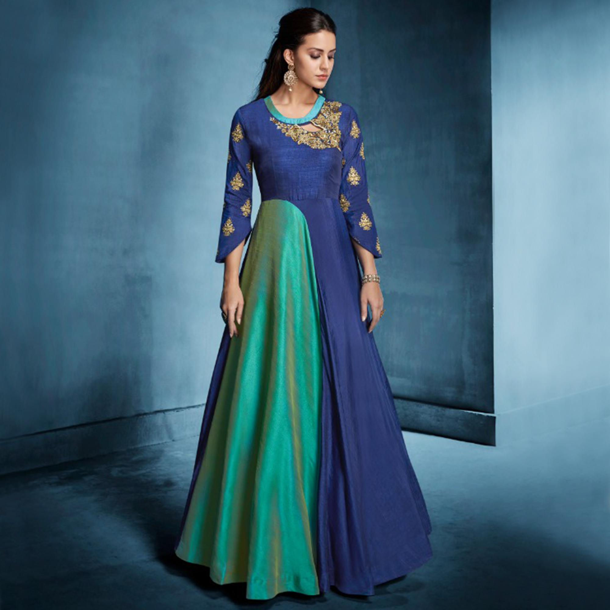 Attractive Blue-Green Colored Designer Party Wear Banarasi Silk Anarkali Suit
