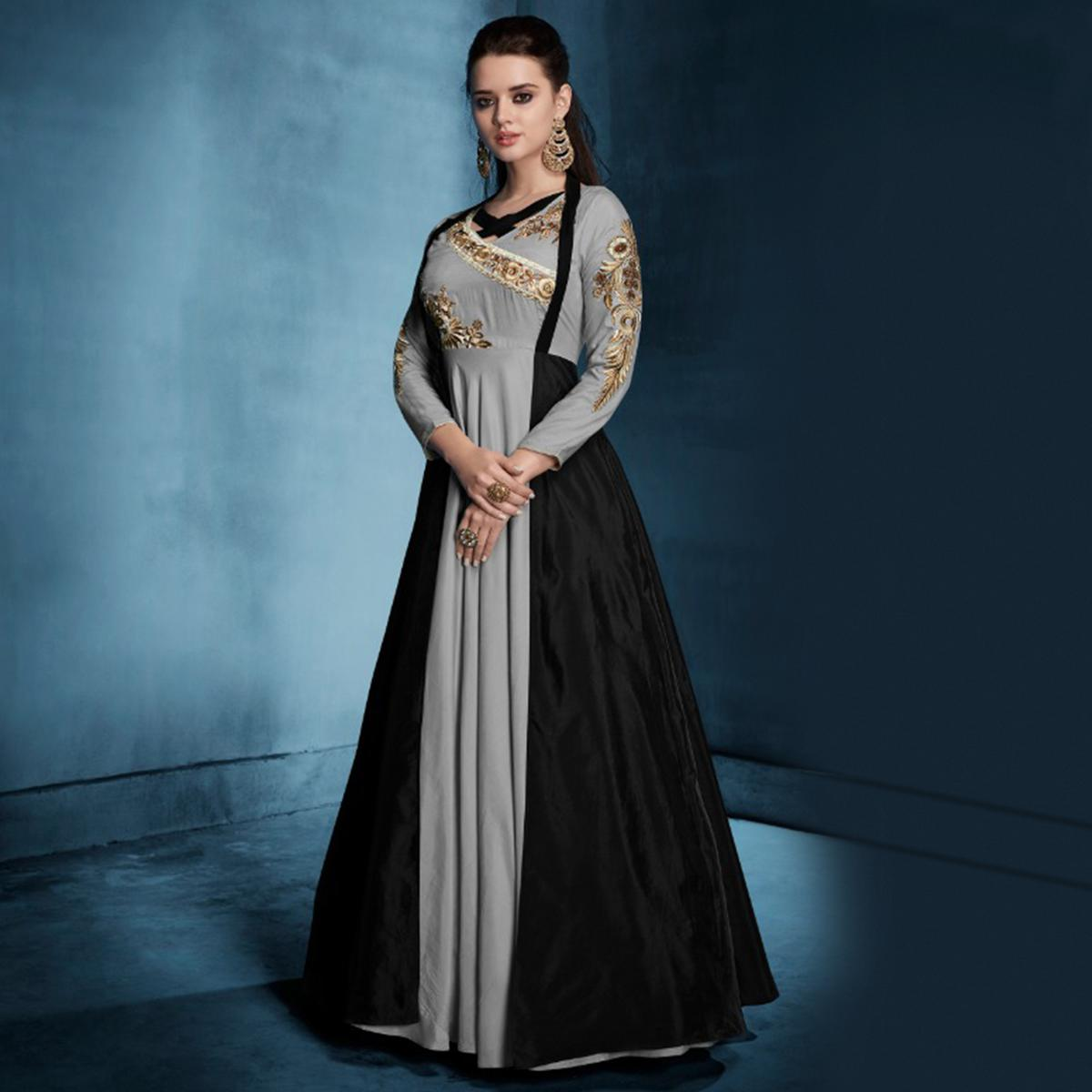 Glorious Grey-Black Colored Designer Party Wear Soft Tapetta Silk Anarkali Suit