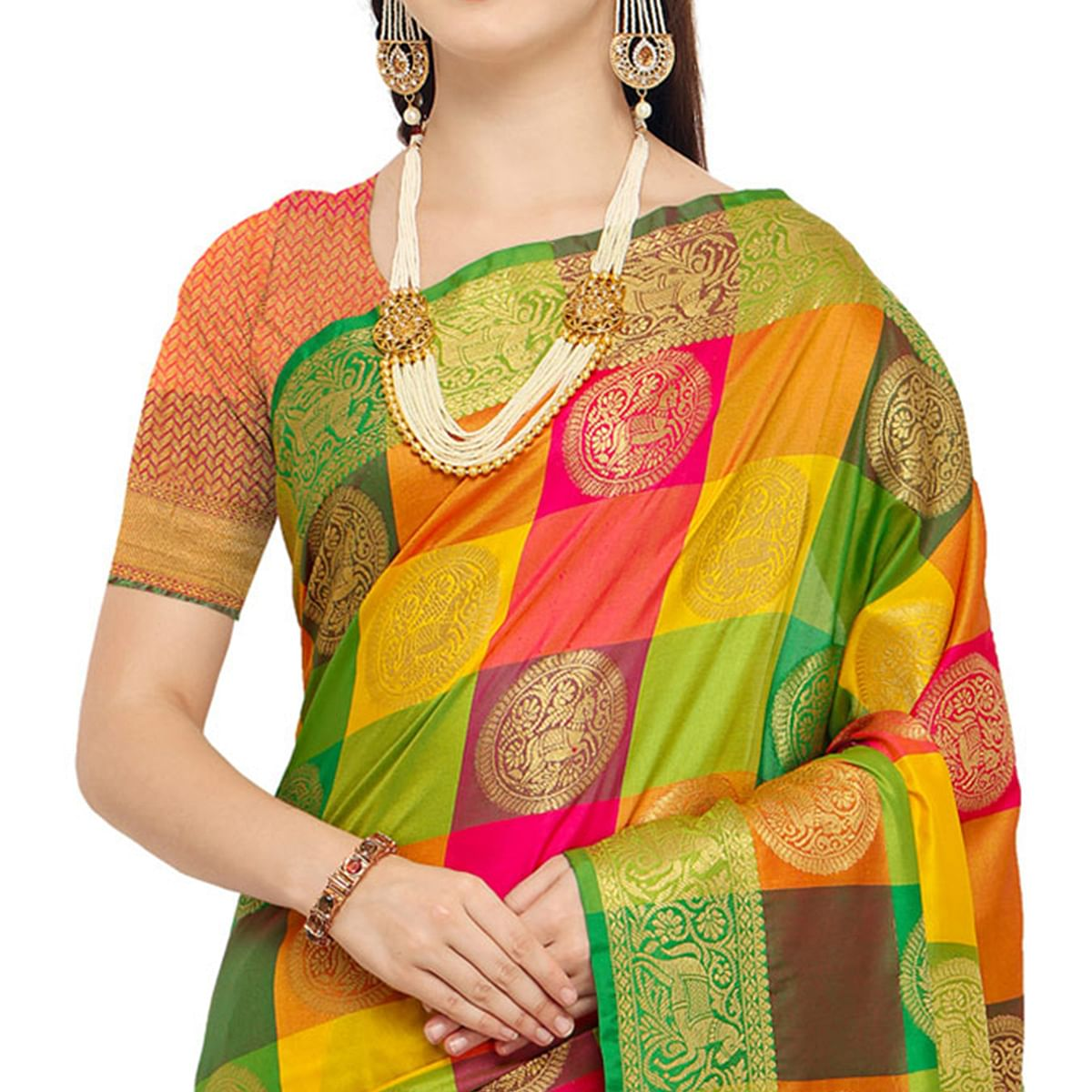 Delightful Multicolored Festive Wear Woven Banarasi Silk Saree